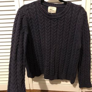 Sweaters - Navy Blue stitched Embroidered Sweater